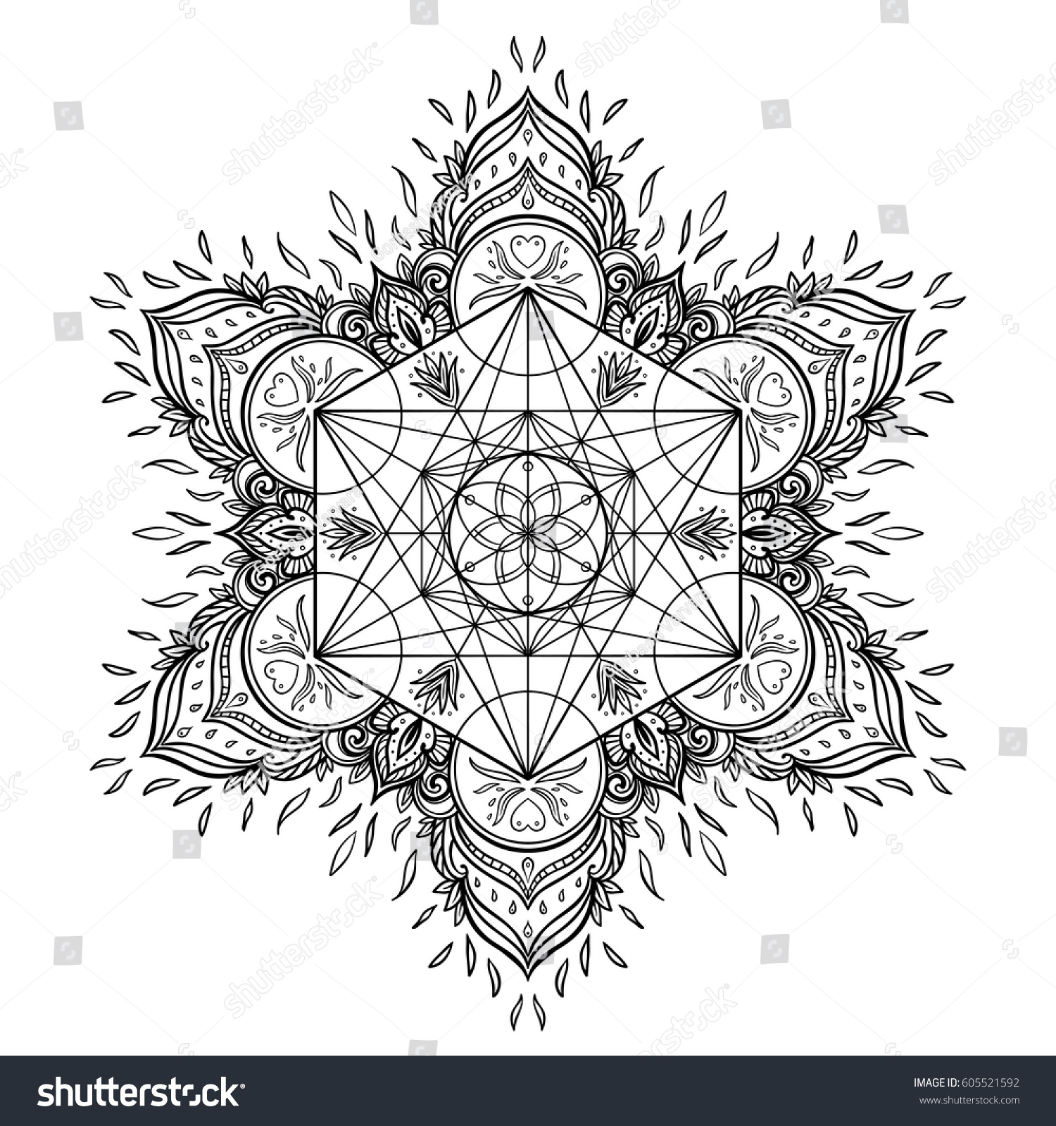 Decorative mandala round pattern sacred geometry stock vector decorative mandala round pattern with sacred geometry element metatron cube powerful symbol flower of biocorpaavc