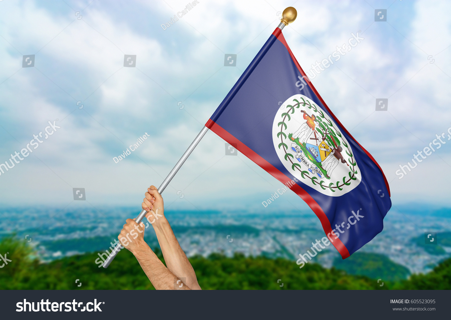 Young mans hands proudly waving belize stock illustration young mans hands proudly waving the belize national flag in the sky part 3d rendering biocorpaavc Image collections