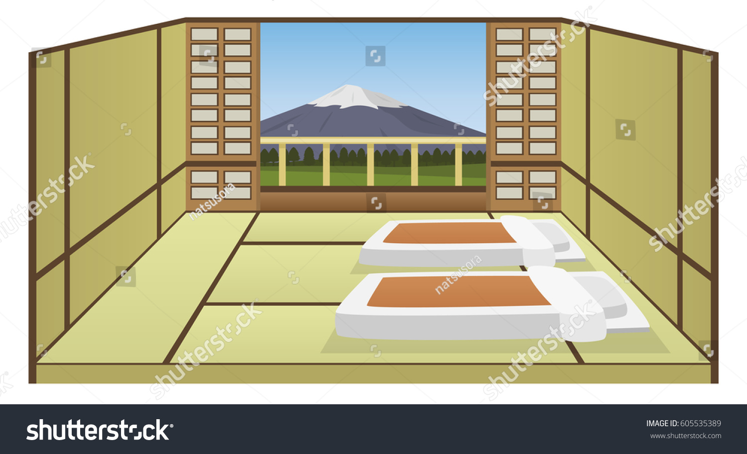 japanese room style hotel interior vector stock vector 605535389