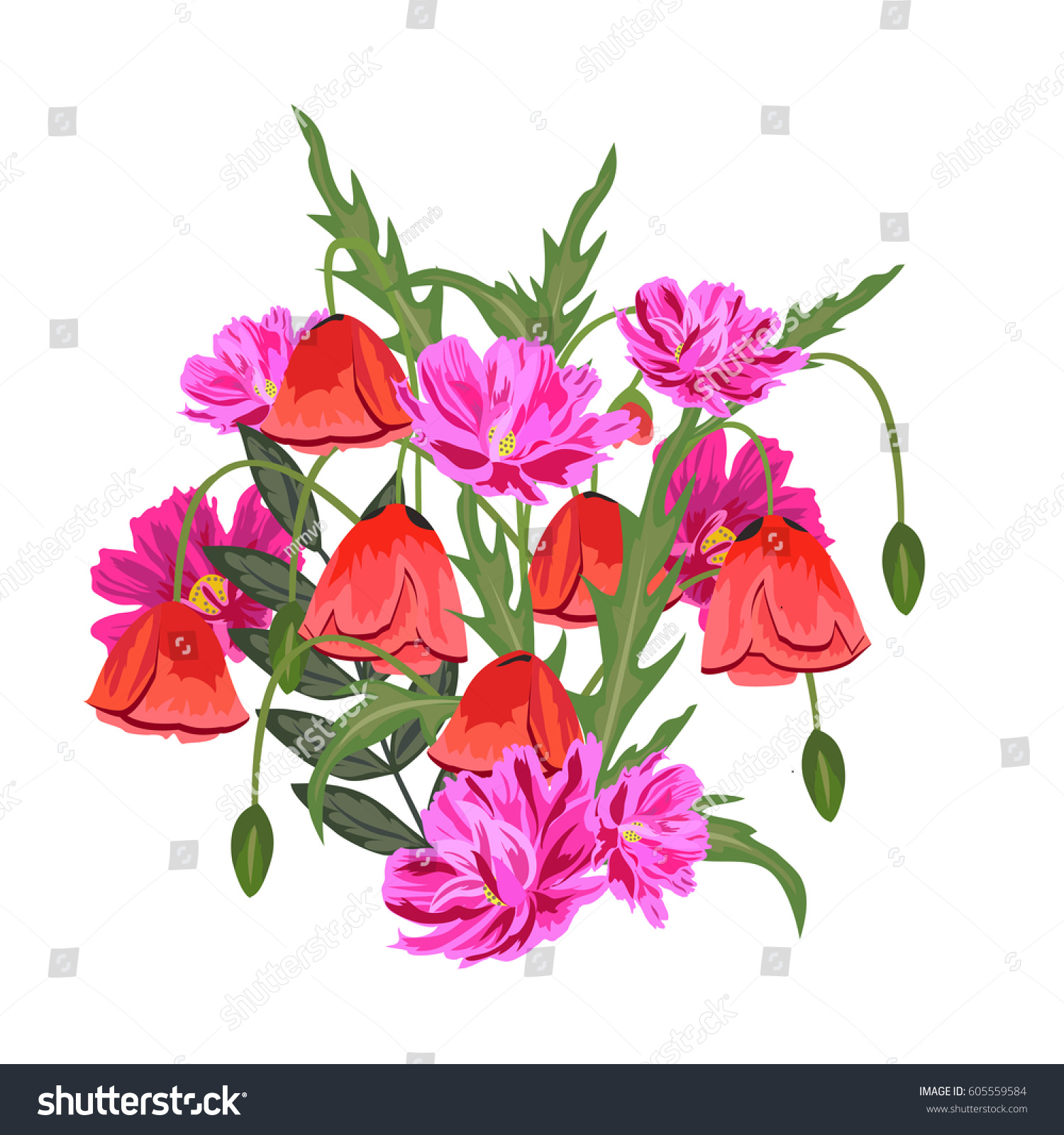 Bouquet Meadow Flowers Red Poppies Decor Stock Vector (Royalty Free ...