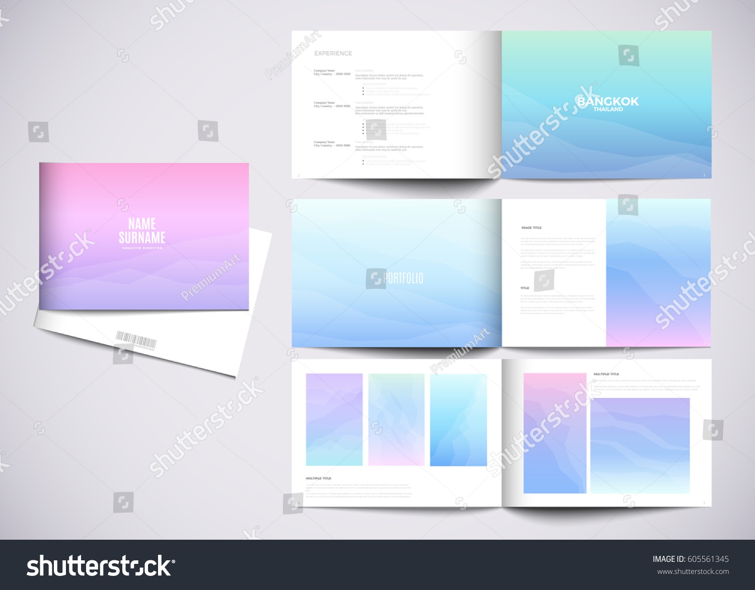 Graphic design studio portfolio template white stock vector graphic design studio portfolio template white creative pages and cover with your text photo pronofoot35fo Choice Image