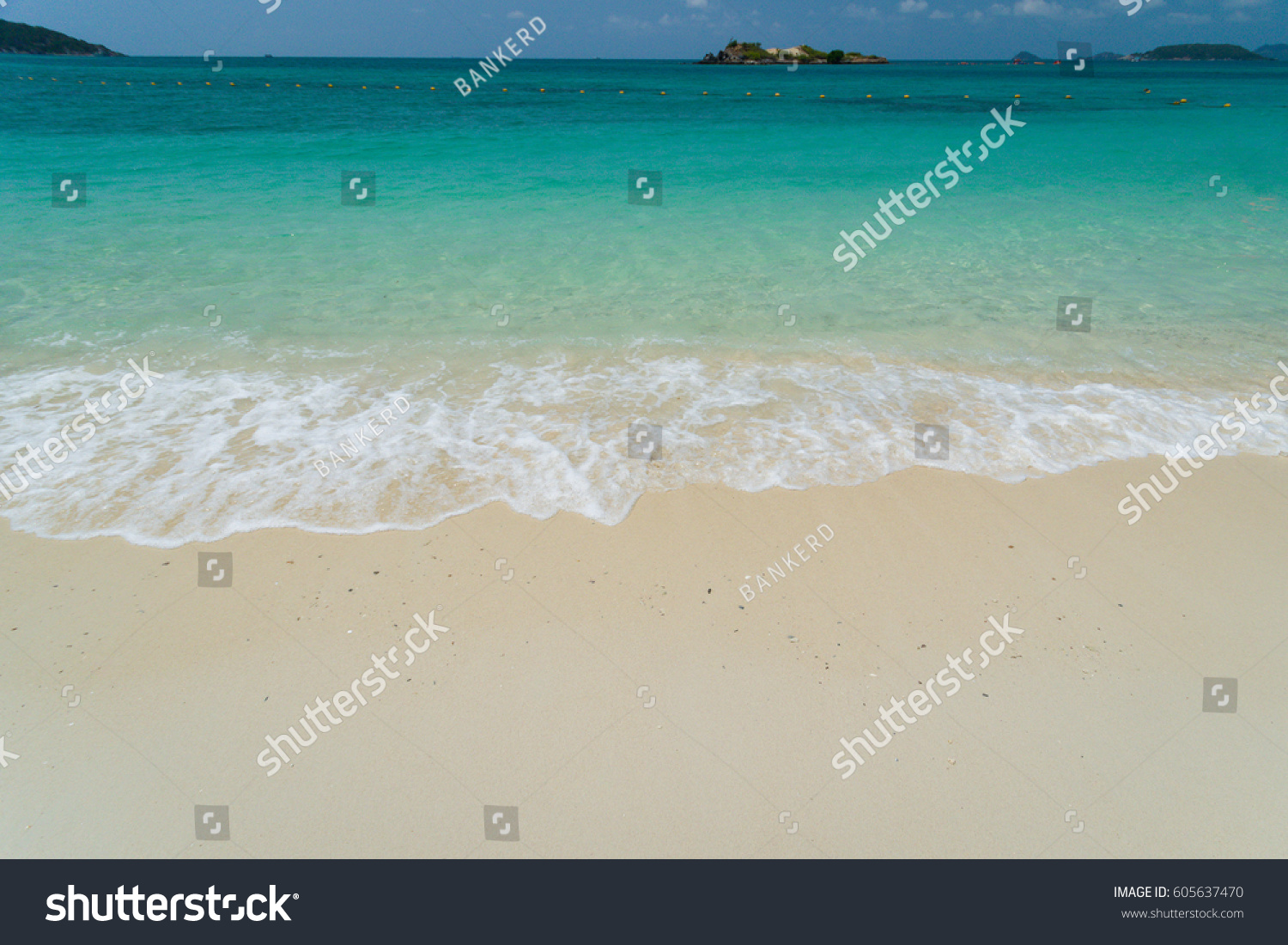Beauty beach and waves beautiful tropical sea, Holiday and vacation concept, Summer concept #605637470