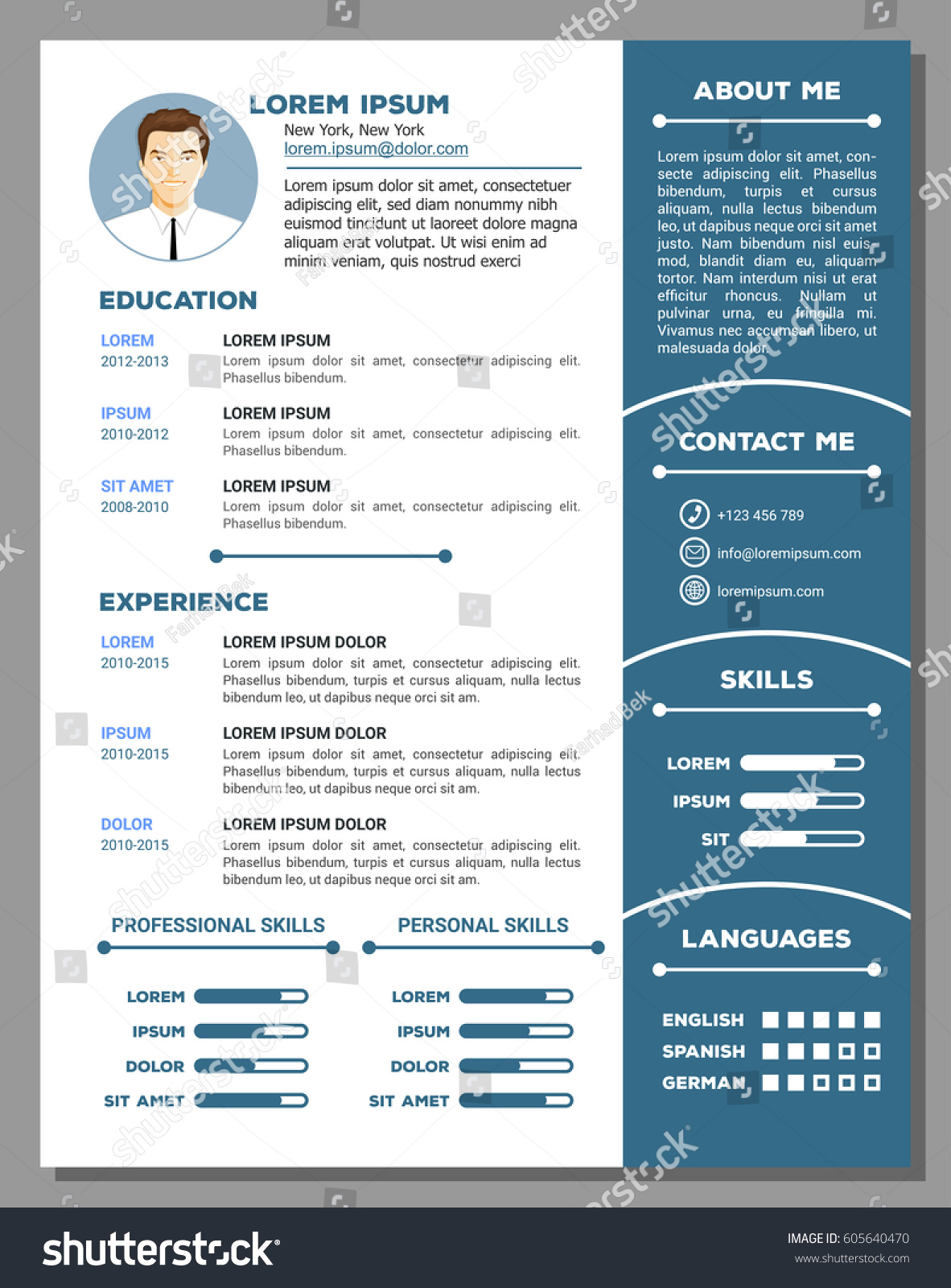 resume cv vector template nice creative stock vector 605640470