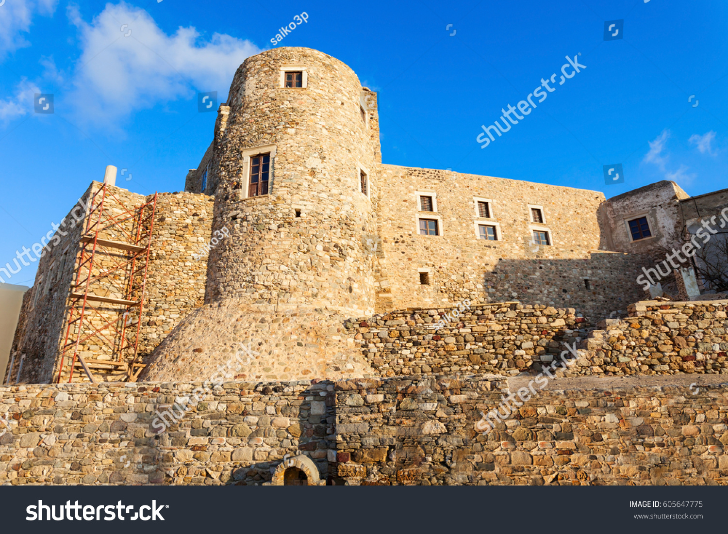 Naxos Kastro Old Town Tower Walls Stock Photo 605647775 ...