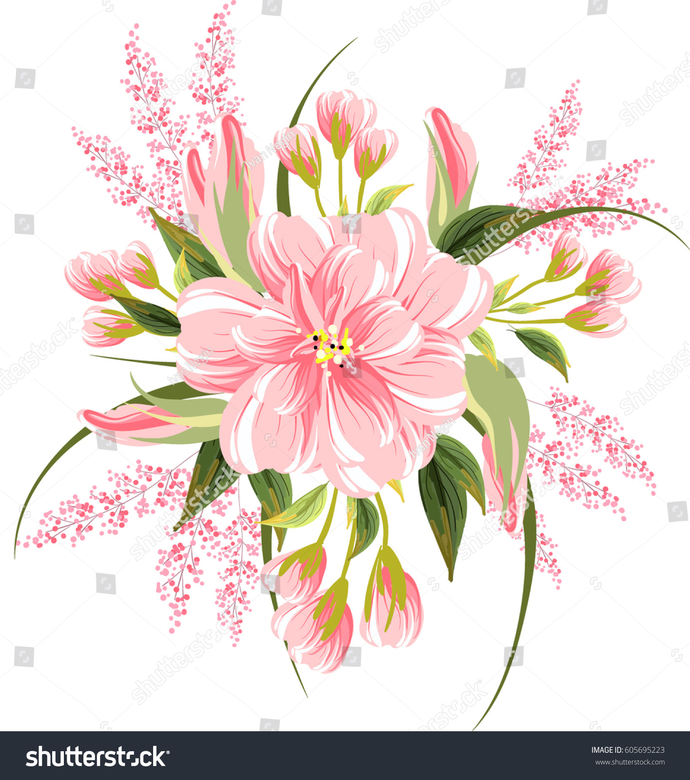 Floral Bouquet Wedding Invitation Pink Flowers Stock Vector Royalty