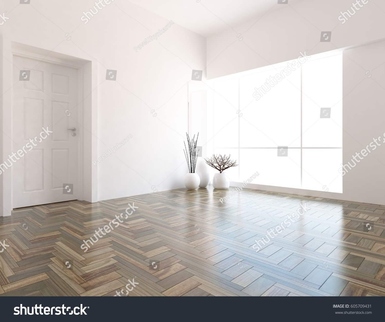 white empty interior design with door living room interior scandinavian interior 3d illustration
