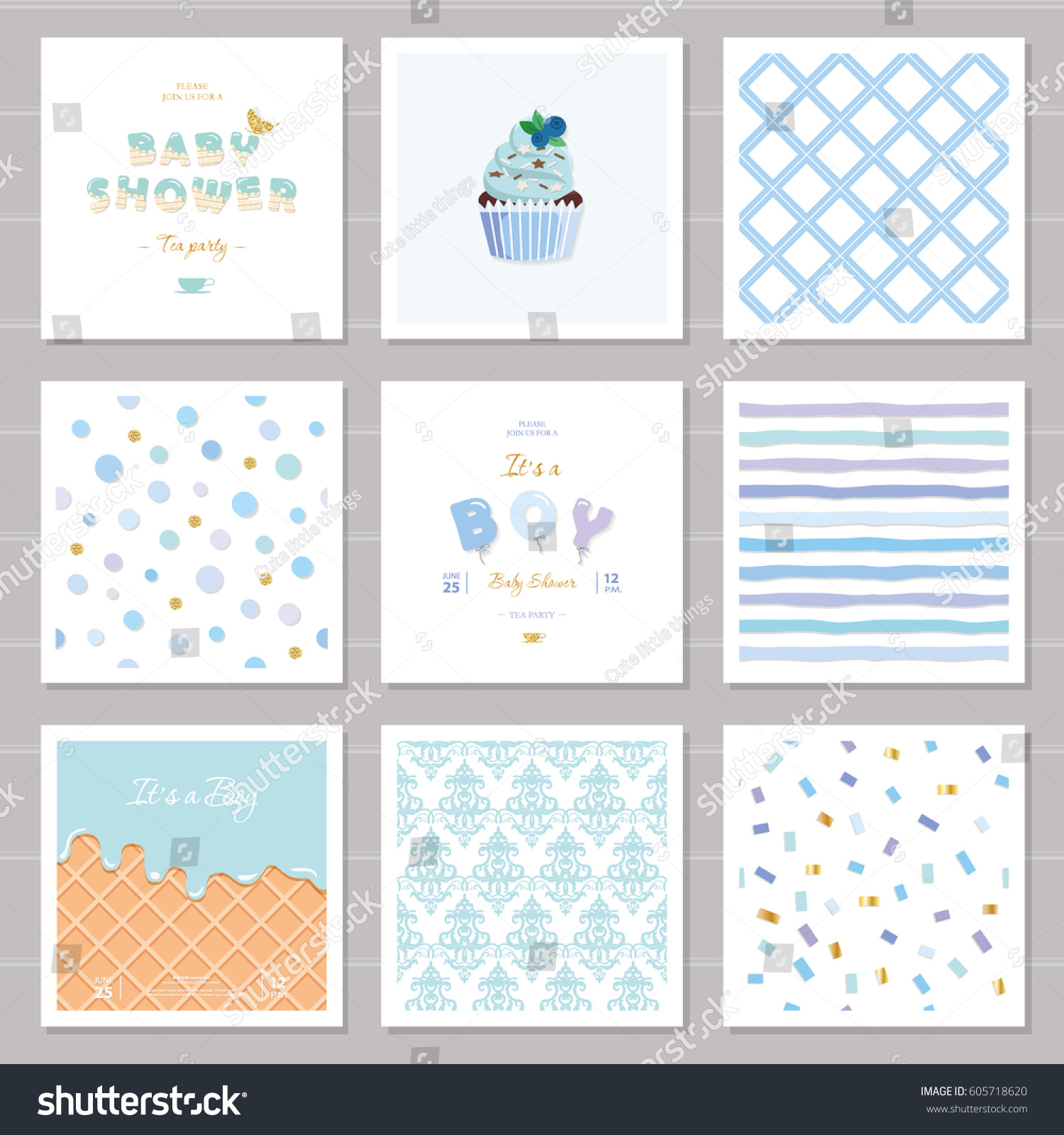 Boy Baby Shower Templates Seamless Patterns Stock Vector Royalty
