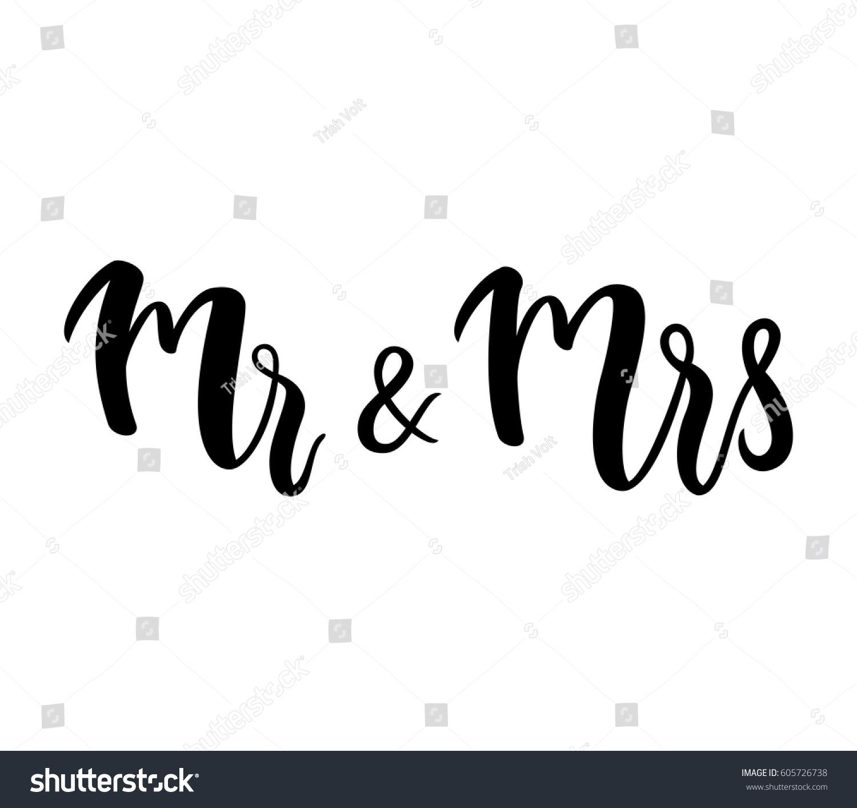 Mr Mrs Mr Mrs Lettering Design Stock Vector 605726738 - Shutterstock