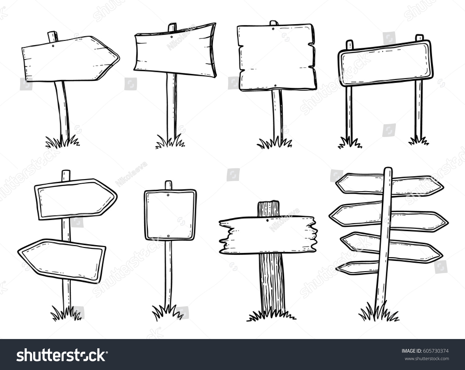 Hand drawn illustration of doodle wood road signs and arrows #605730374