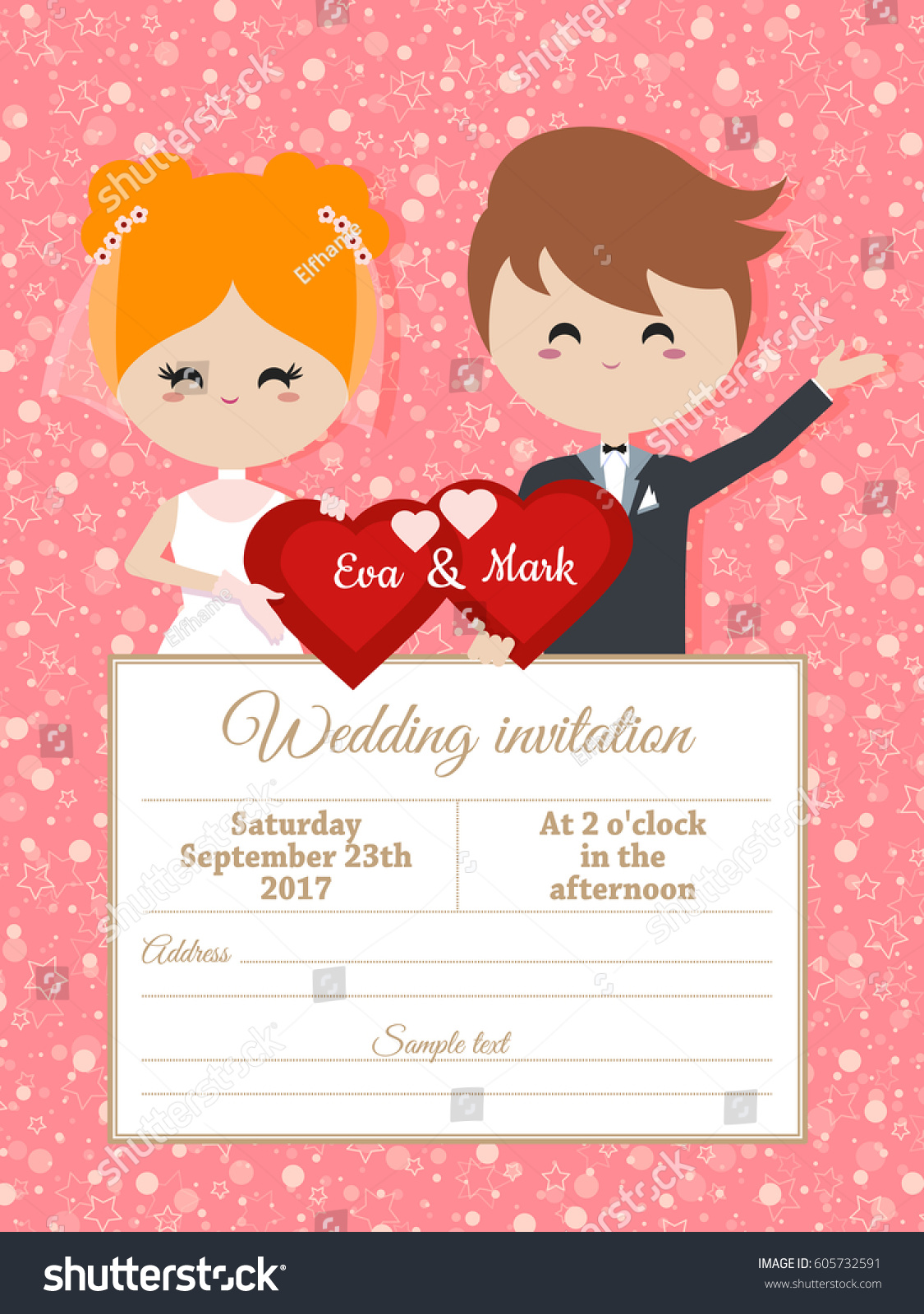 Wedding Invitation Groom Bride Holding Heart Stock Vector 605732591 ...