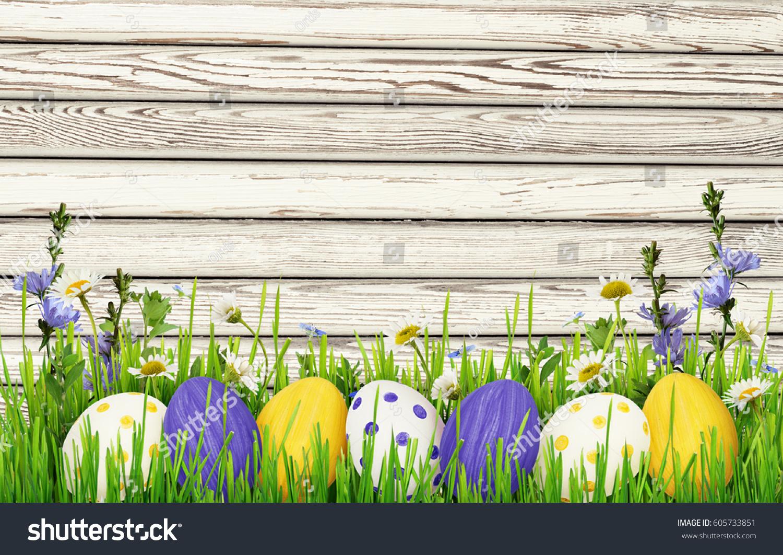 Easter Eggs Grass Wild Flowers Border Stock Photo ...