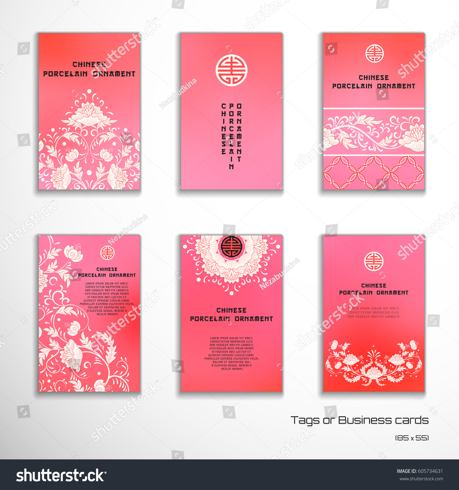 Set Six Vertical Business Cards Tags Stock Vector 605734631 ...