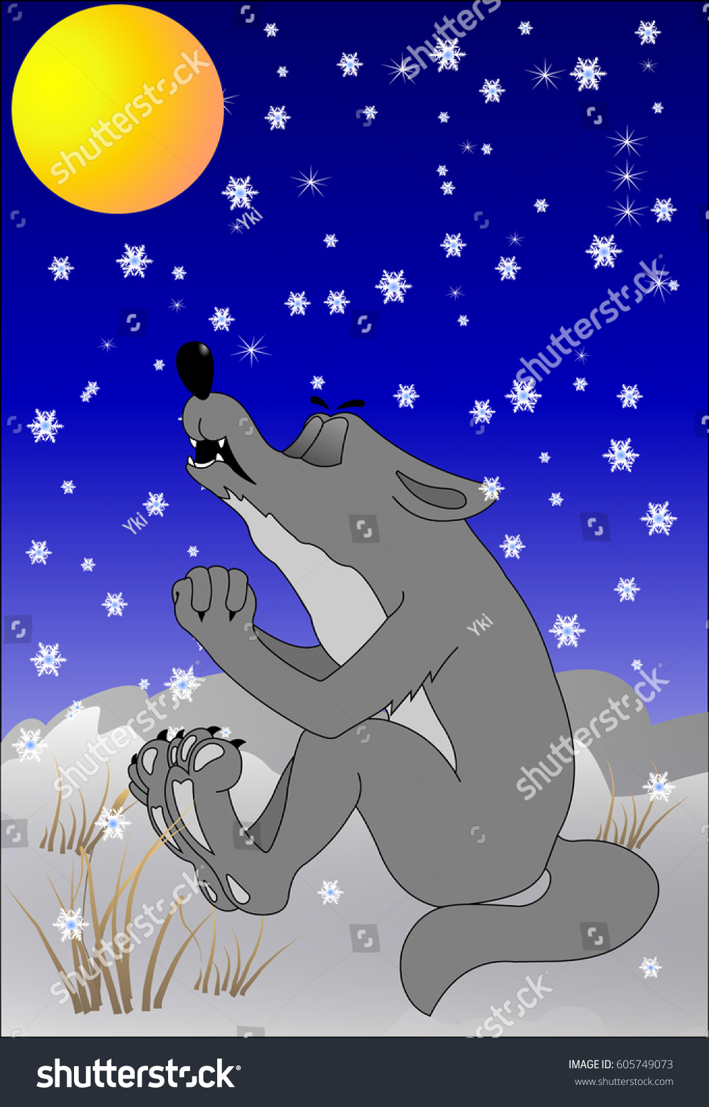 wolf howling moon stock vector 605749073 shutterstock