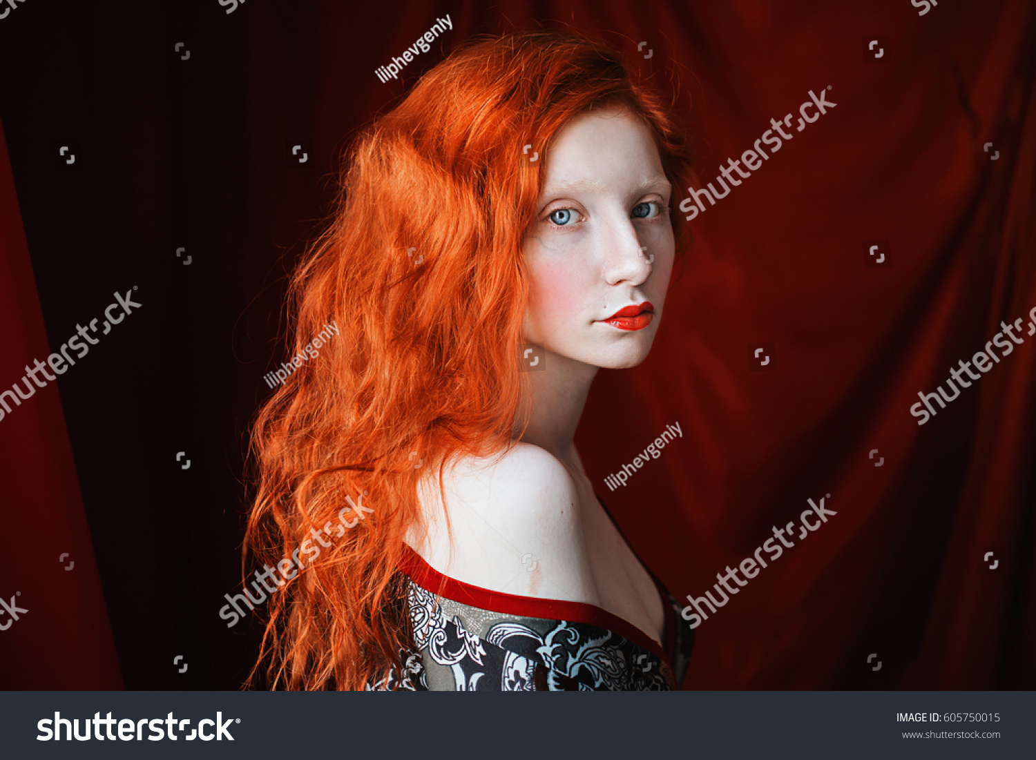 Woman Her Red Curly Hair Bathrobe Stock Photo Edit Now 605750015