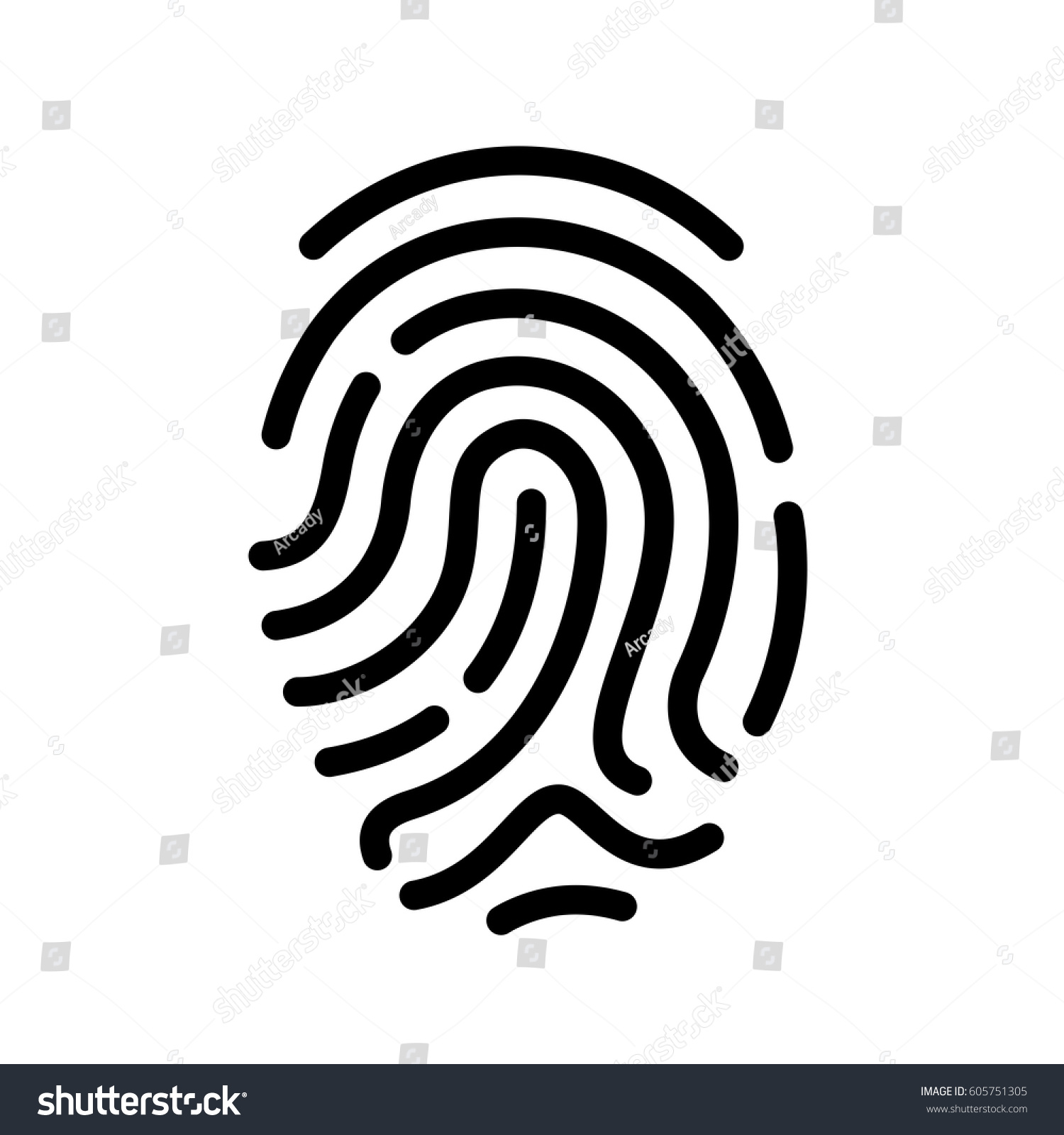Finger Print Vector Icon Illustration Isolated Stock ...