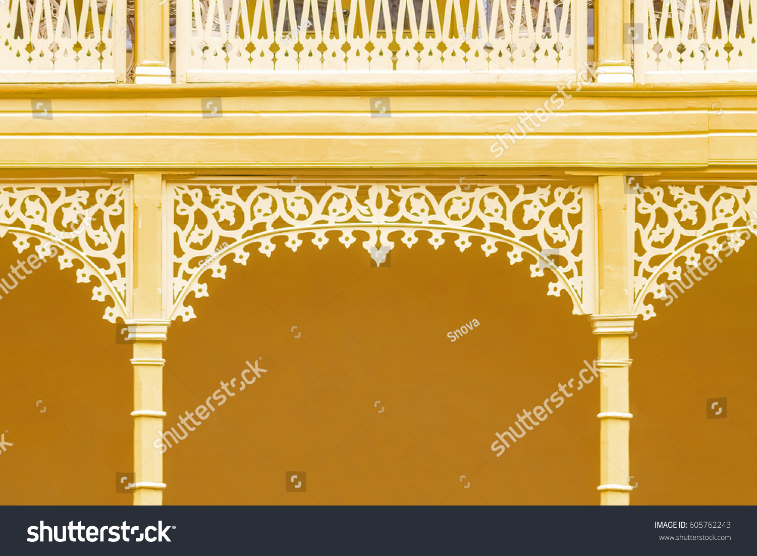 Yellow Wall White Carved Decorations Stock Photo 605762243 ...