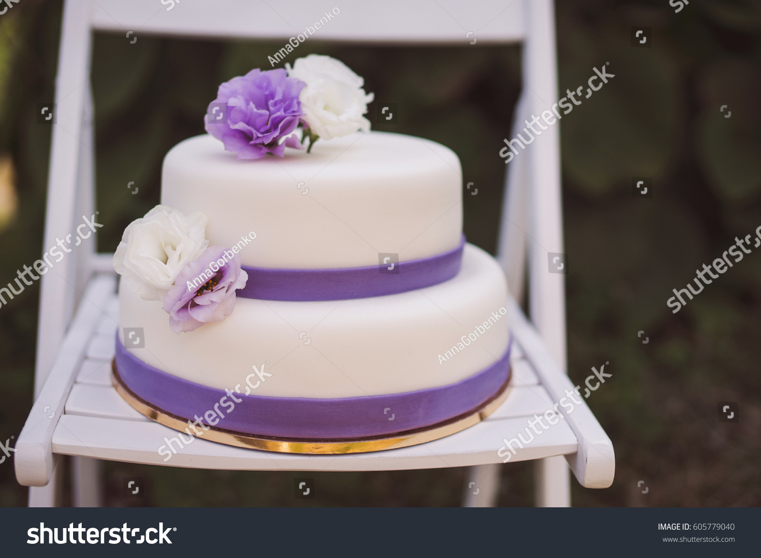 White Wedding Cake Purple Flowers Decoration Stock Photo Edit Now