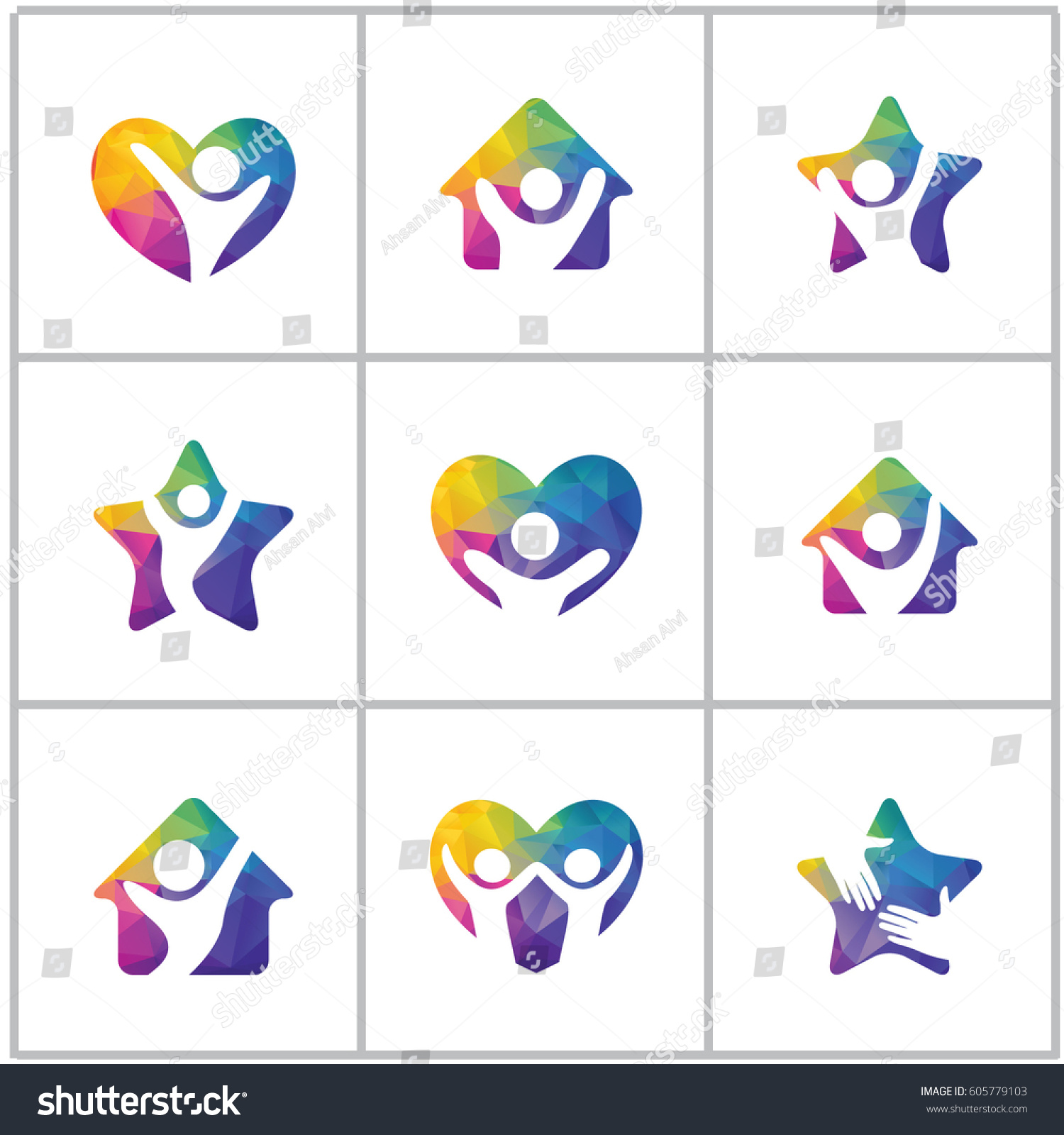 Low Poly Happy Home Vector Design. Happy Family Logos, Health And Care  Colorful Logos