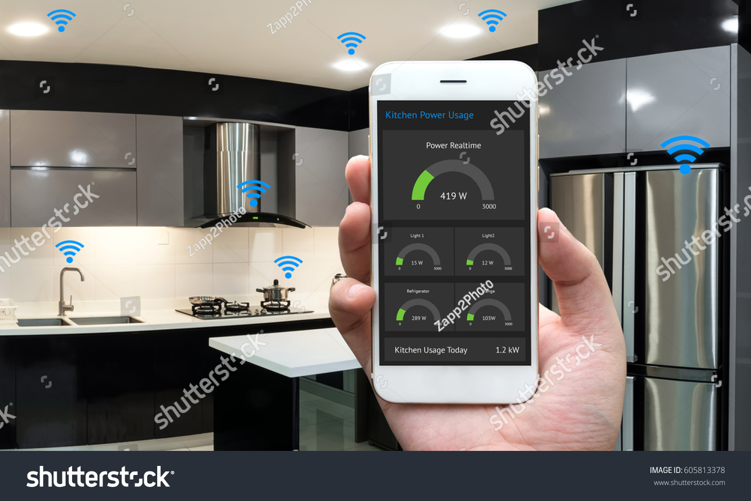 internet things iot smart home kitchen stock photo 605813378 shutterstock. Black Bedroom Furniture Sets. Home Design Ideas