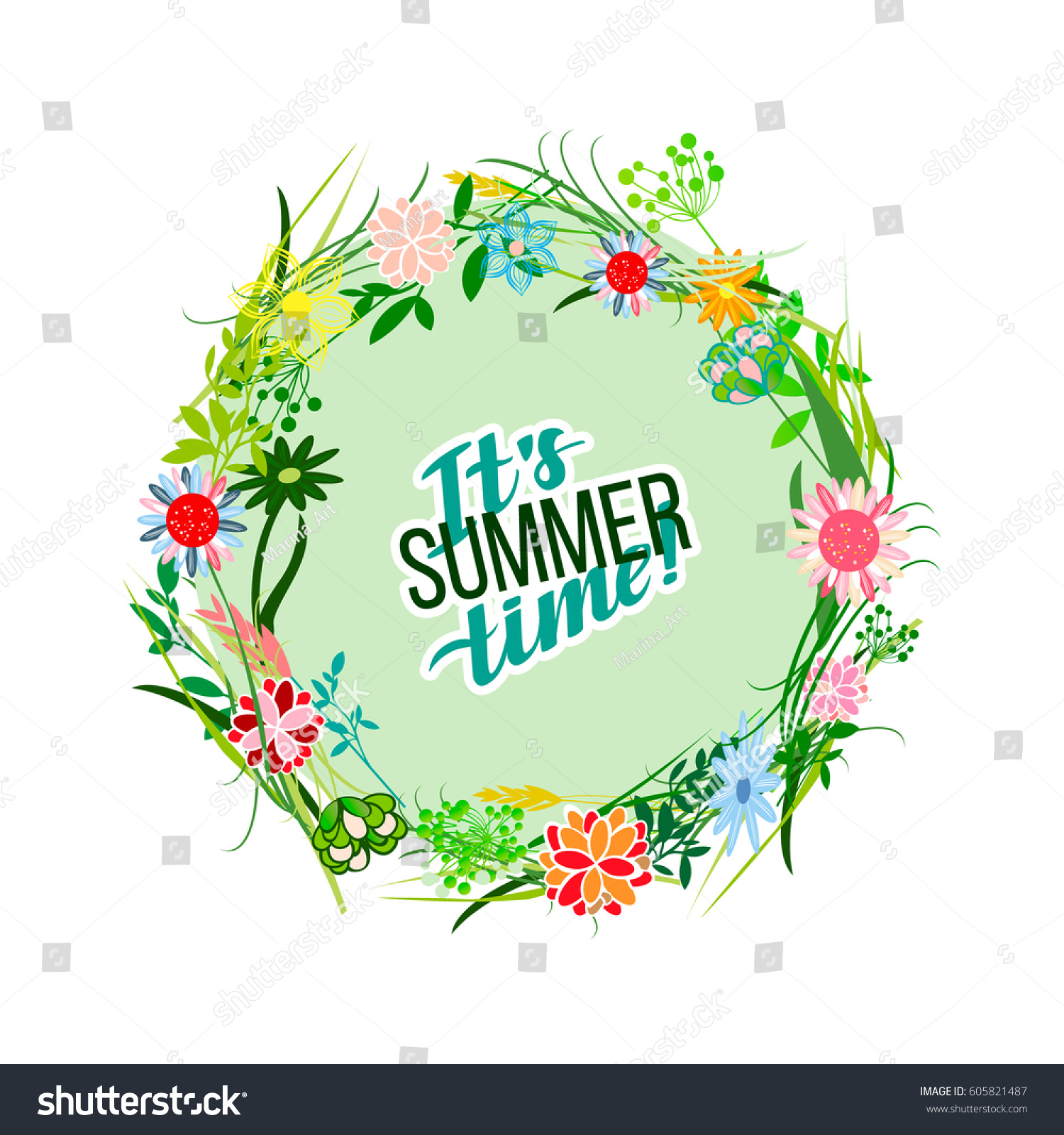 Flowers Background Is Vector Illustration Summer Stock Vector