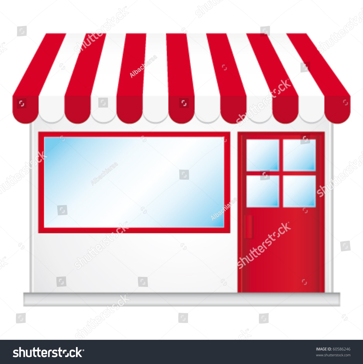 Cute Shop Icon Red Awnings Vector Stock Vector 60586246
