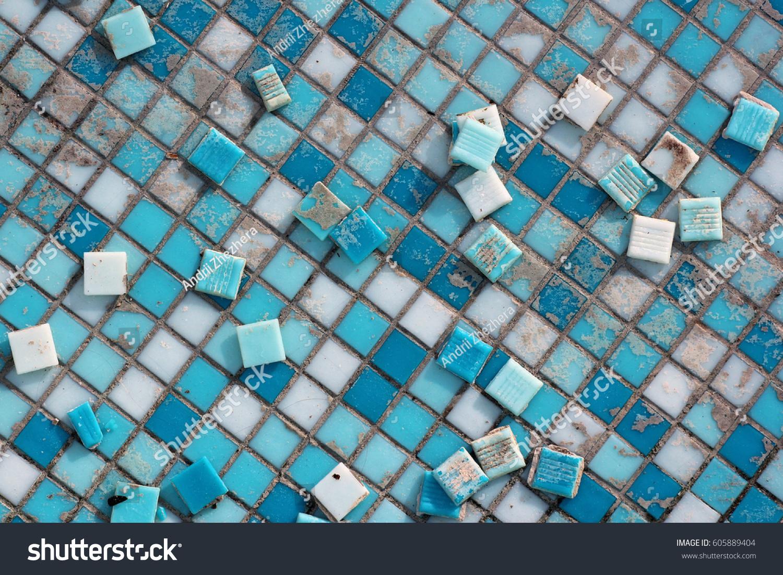 Blue White Ceramic Tiles Abandoned Swimming Stock Photo (Royalty ...