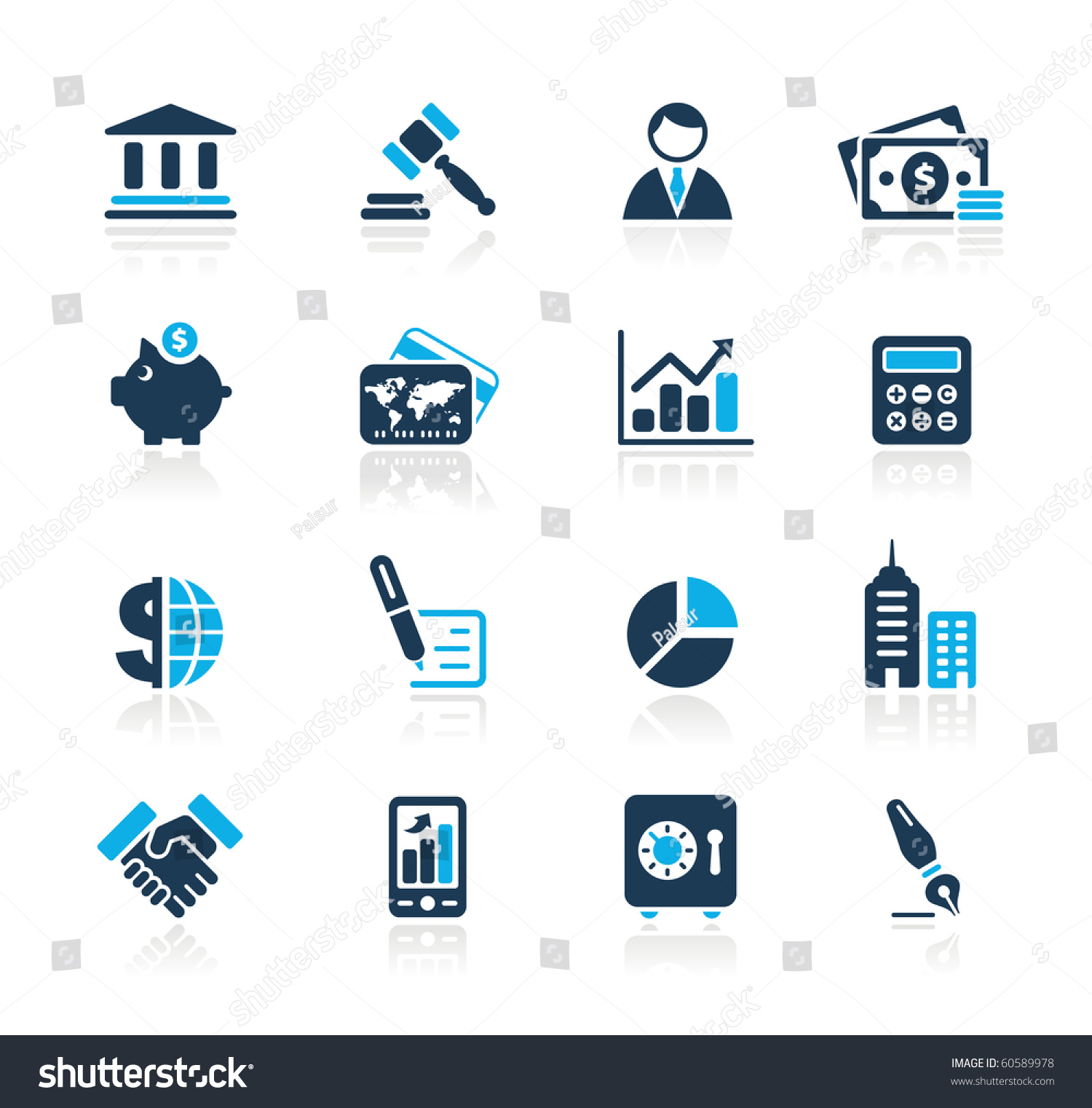 Business Finance: Business Finance Web Icons Azure Series Stock Vector