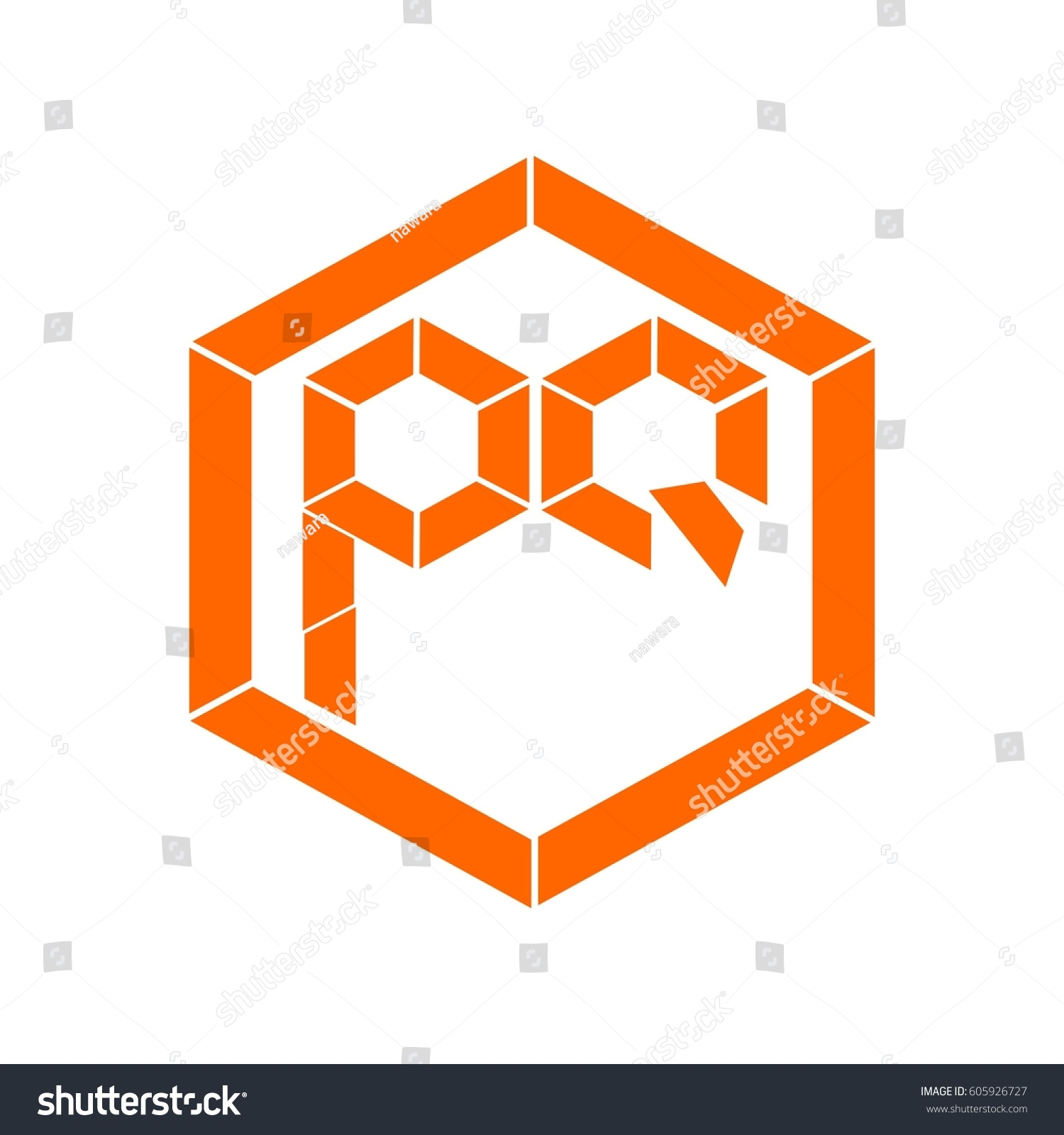 letter P,Q orange color logo vector