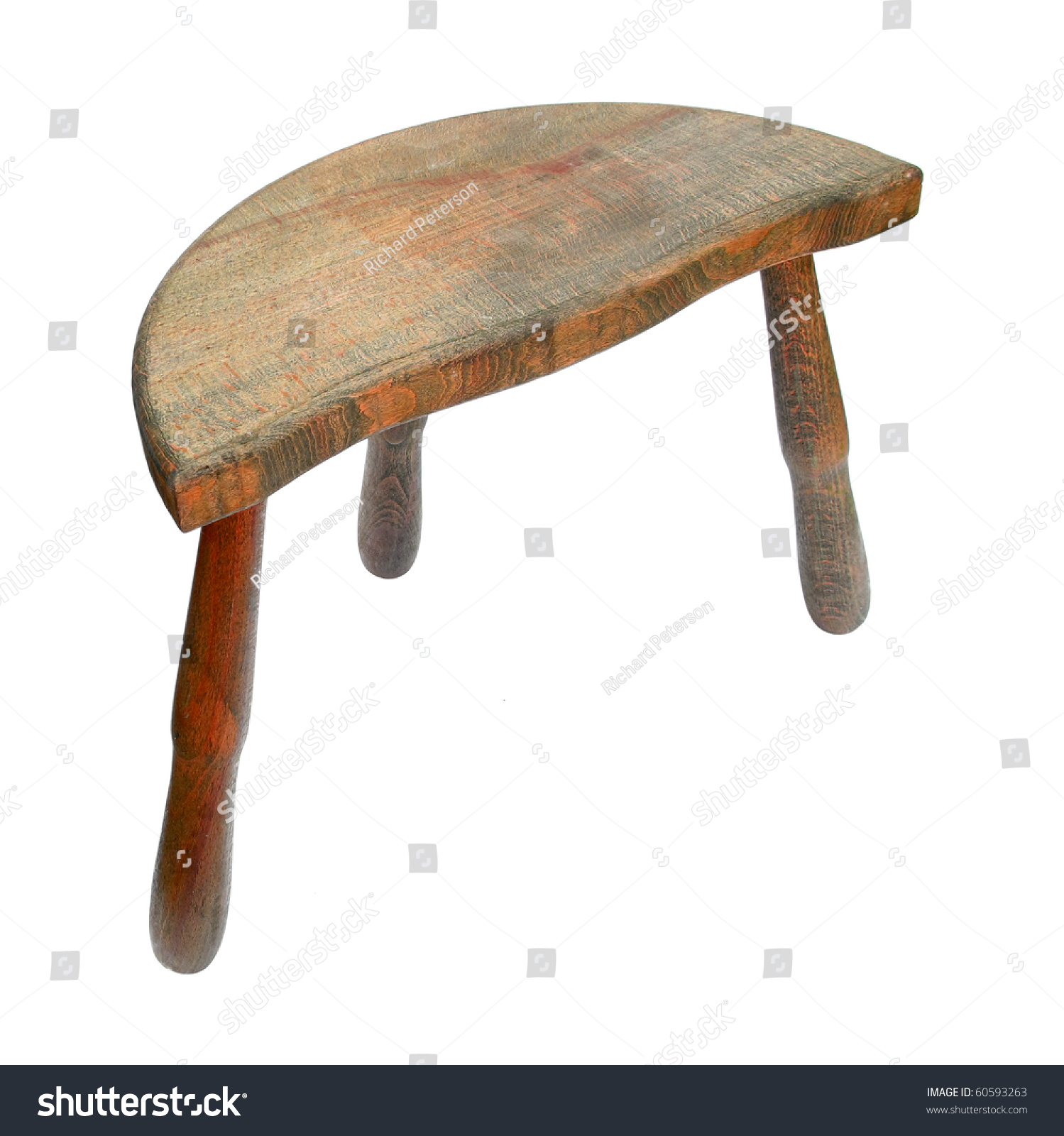Chair Stool Wooden With Three Legs Stock Photo 60593263