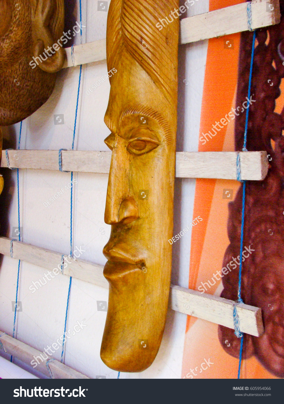 Carved Wooden Mask Sri Lanka Stock Photo Edit Now 605954066