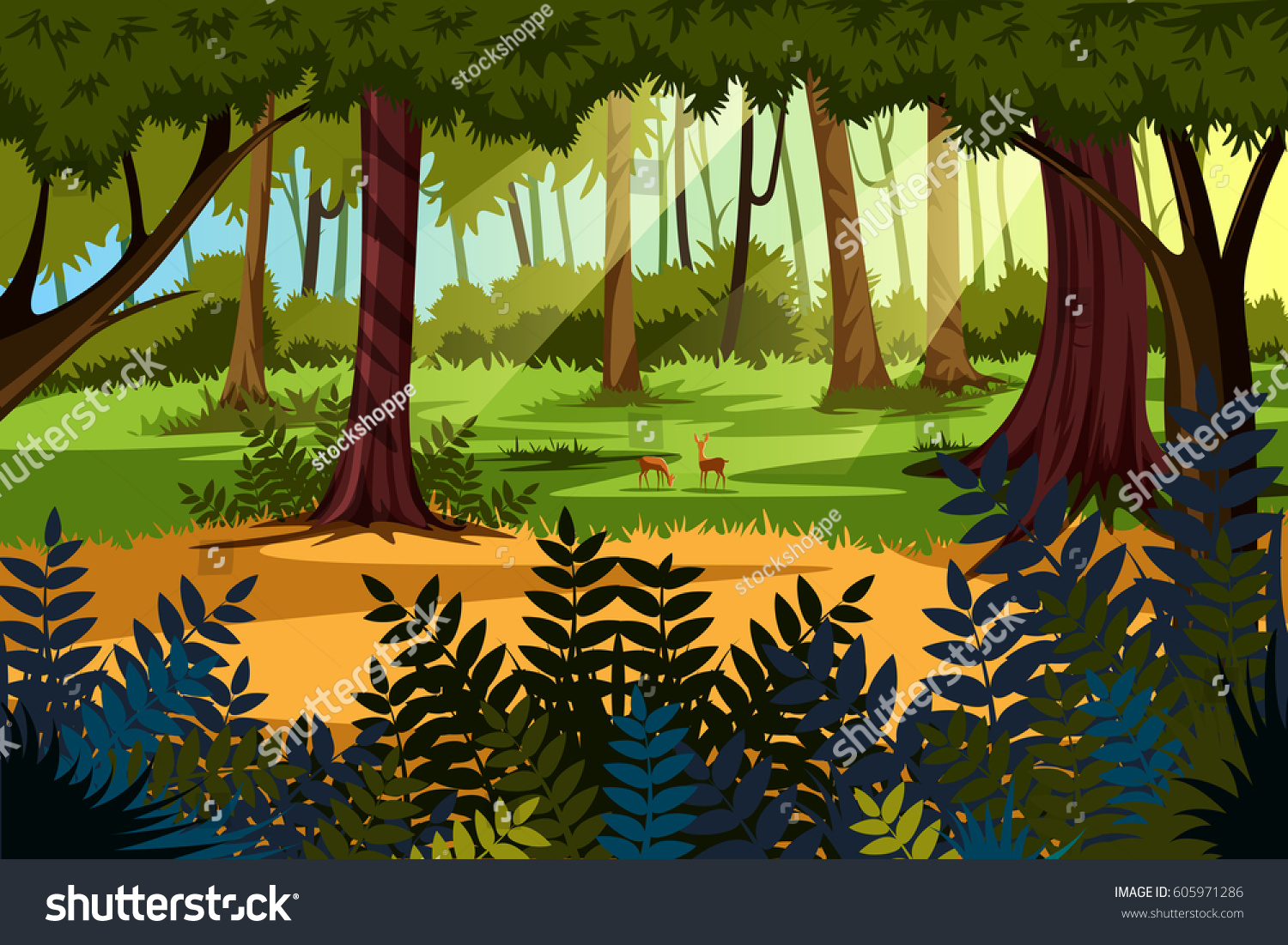 vector illustration nature landscape scenery background stock vector