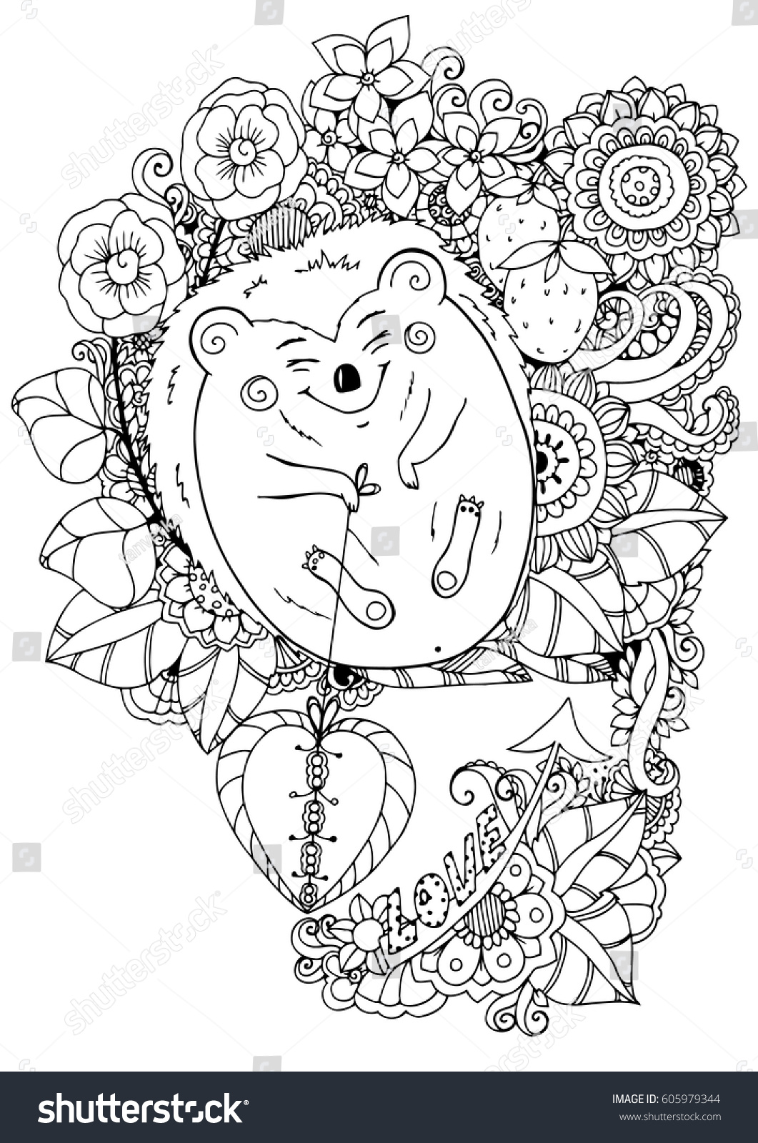 Vector Illustration Zentangl Hedgehog Flowers Love Stock