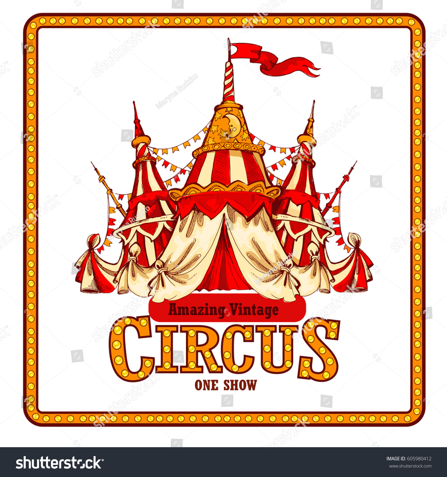 Amazing Vintage Circus Show Detailed poster. Colored Sketch composition.  Circus red and white Circus