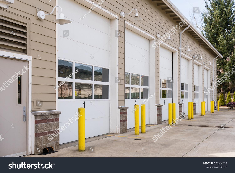 Fire Station Six Garage Doors Fire Stock Photo 605984078   Shutterstock