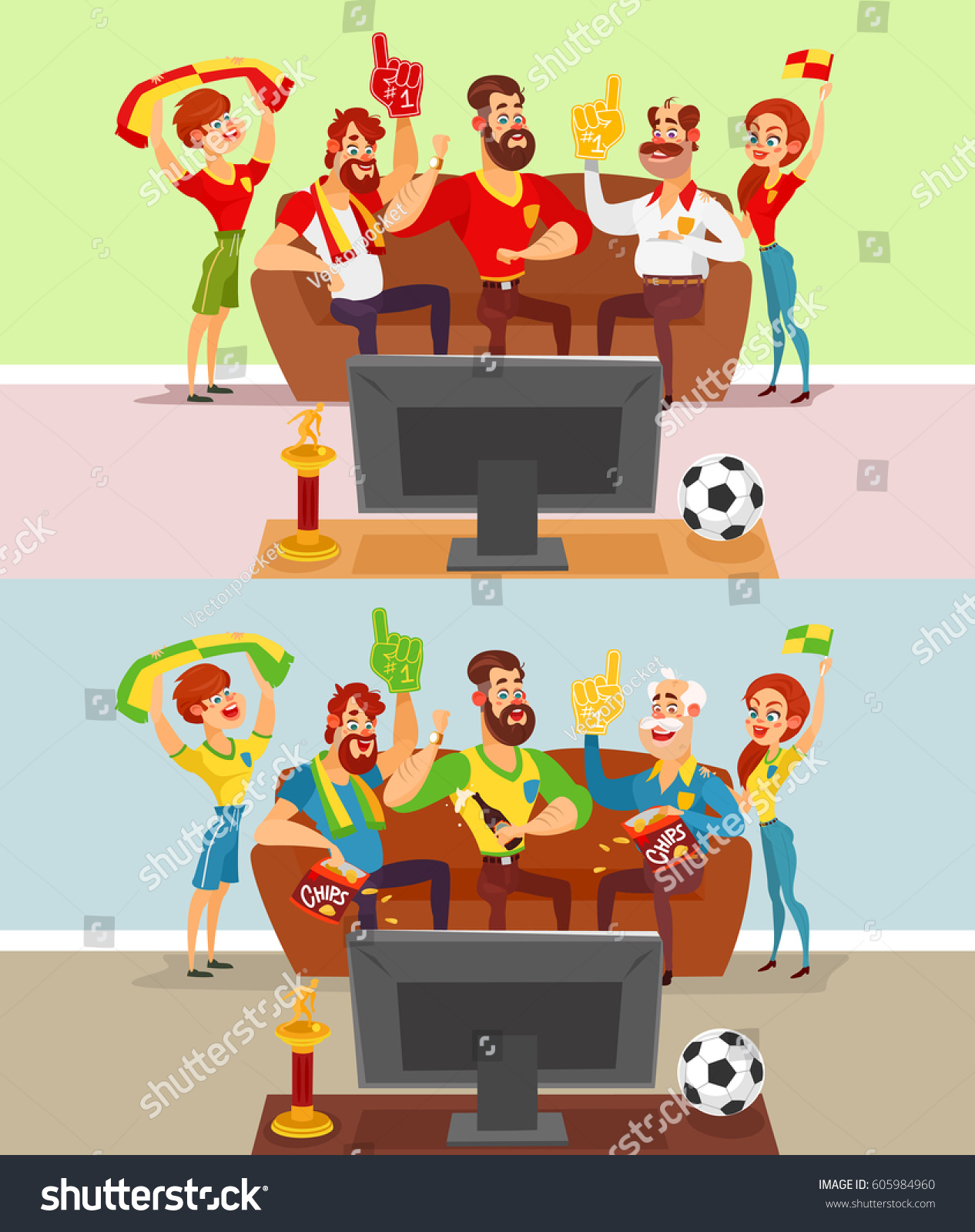 Business team cartoon characters cartoon vector cartoondealer com - Two Vector Cartoon Illustrations Of A Group Of Friends And Family Members Of Football Fans Watching