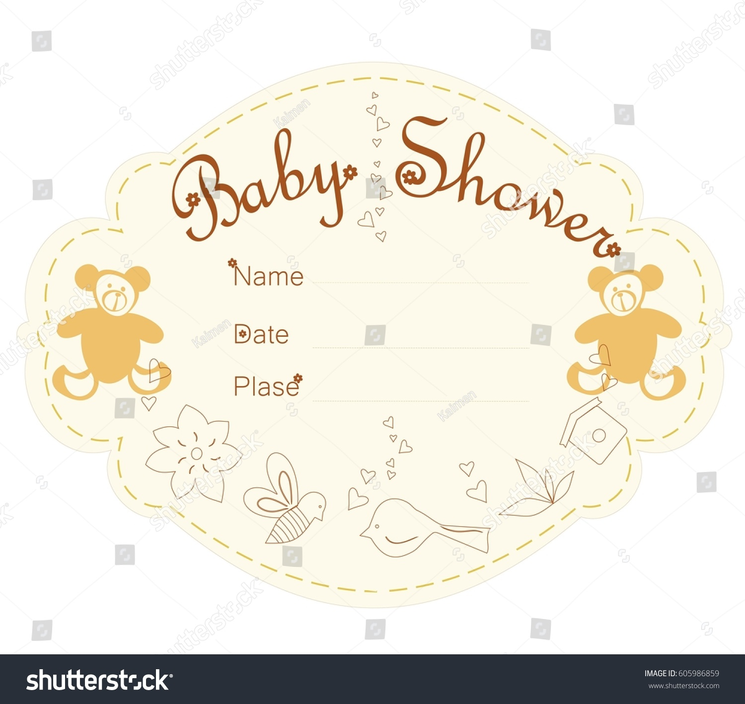Baby Shower Invitations Template Card Baby Stock Vector 605986859 ...