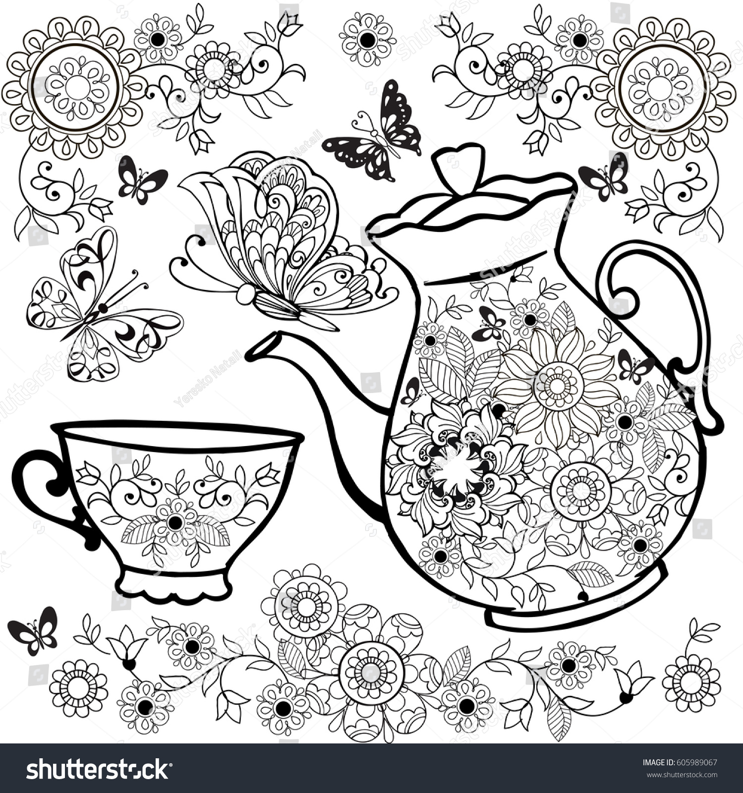 Flower Tea Teapot Coloring Pages Flowers Stock Vector 605989067 ...