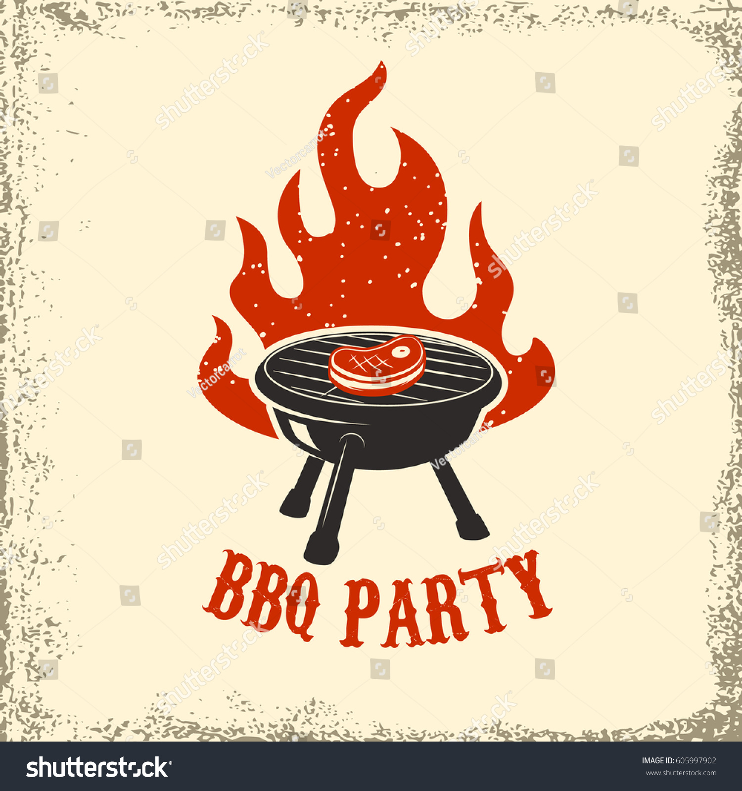 bbq party grill fire on grunge stock vector 605997902 shutterstock