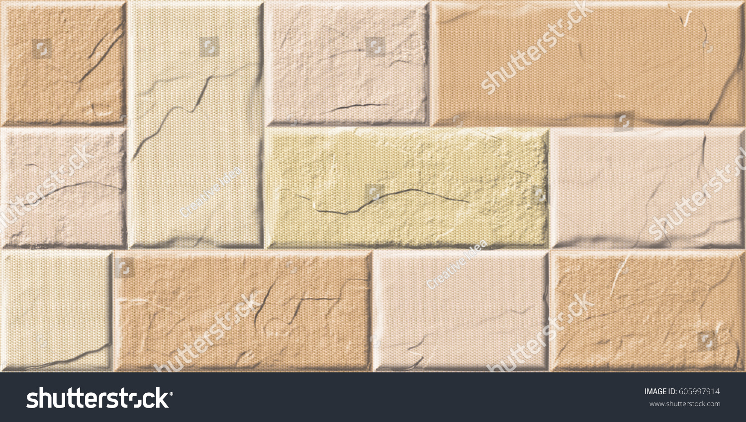 Abstract Home Wall Decorative Elevation Tiles Stock Illustration ...
