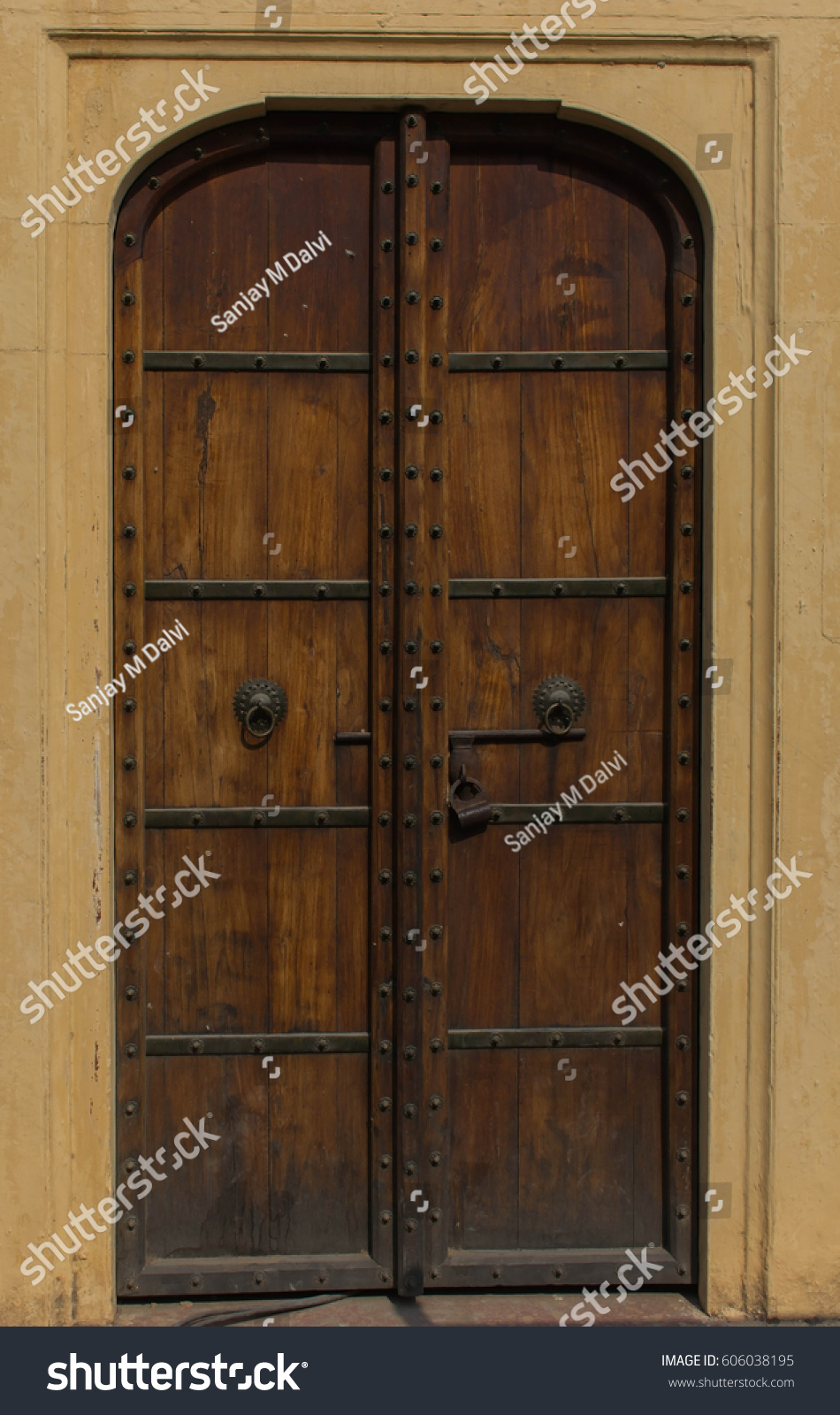 Antique wooden door frame from Jaipur City - Antique Wooden Door Frame Jaipur City Stock Photo (Edit Now