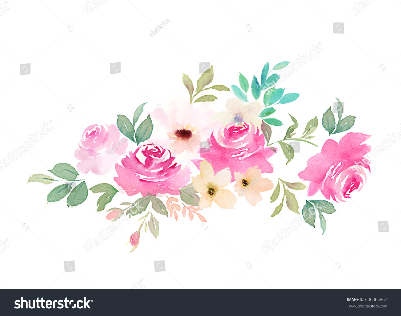 watercolor flower print cards invitations wedding stock illustration