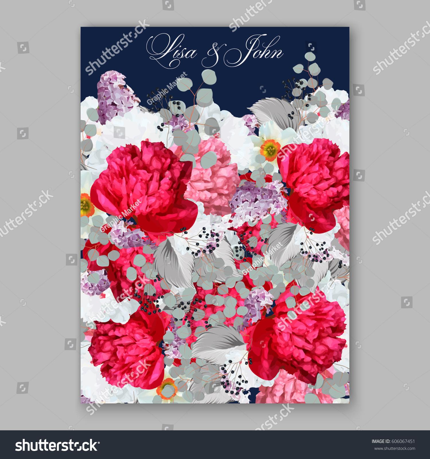 Peony Wedding Invitation Red Spring Flowers Stock Vector 606067451 ...
