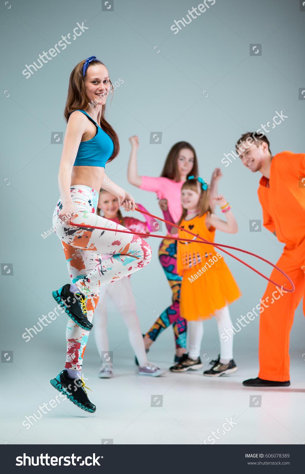 Group Man Woman Teens Dancing Hip Stock Photo 606078389 ...