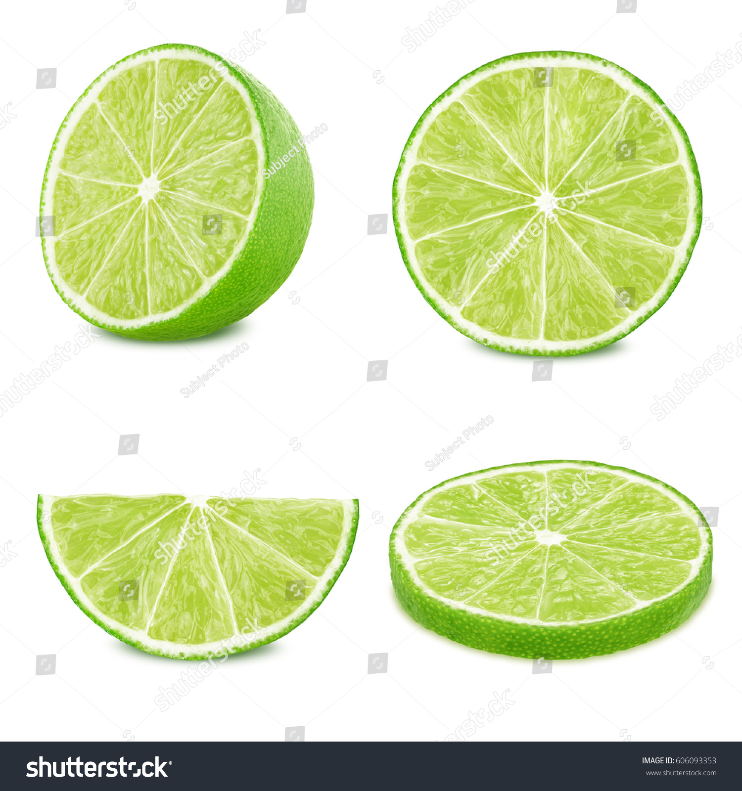 Lime slices set isolated on white background #606093353
