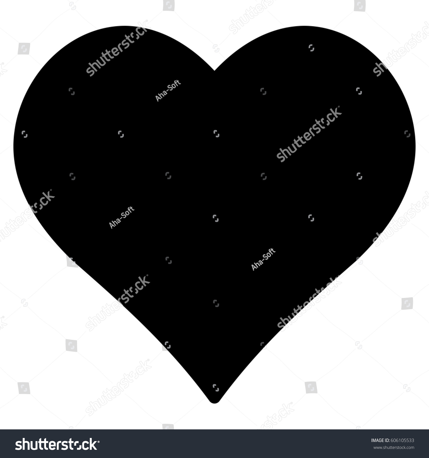 Love Heart Vector Icon Flat Black Stock Vector Royalty Free