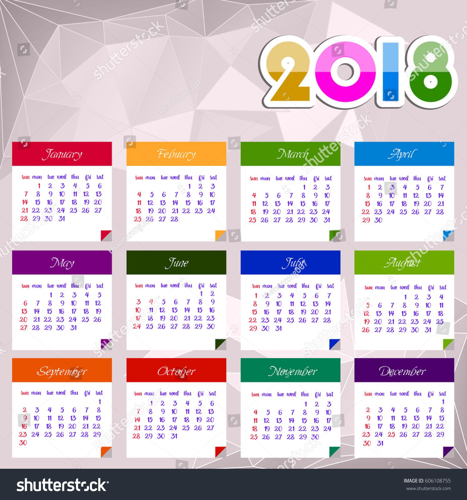 Calendar 2018 Happy New Year Vector Stock Vector 606108755 ...