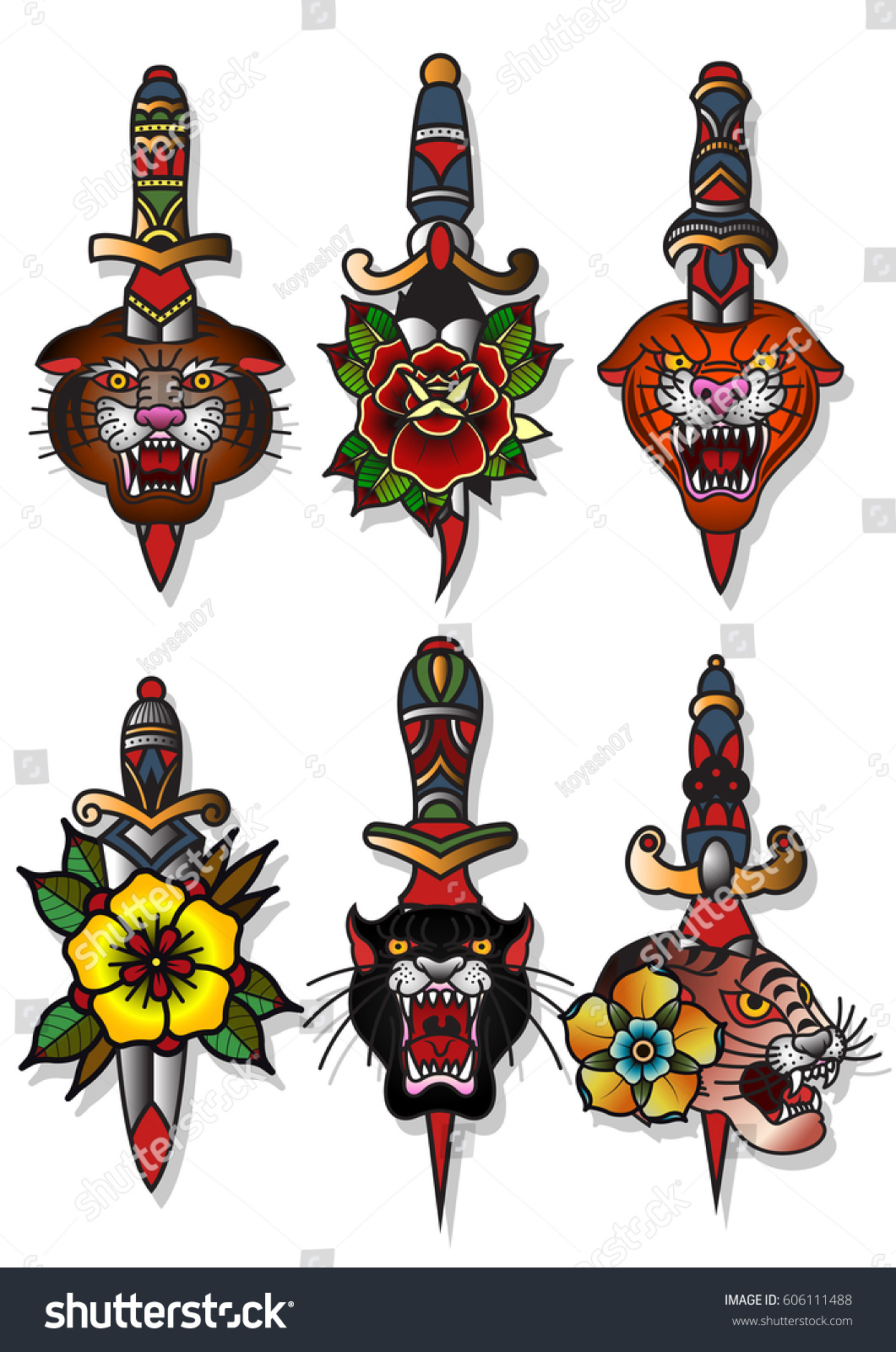 Vector Knives Tigers Flowers Set Traditional Stock Vector Royalty