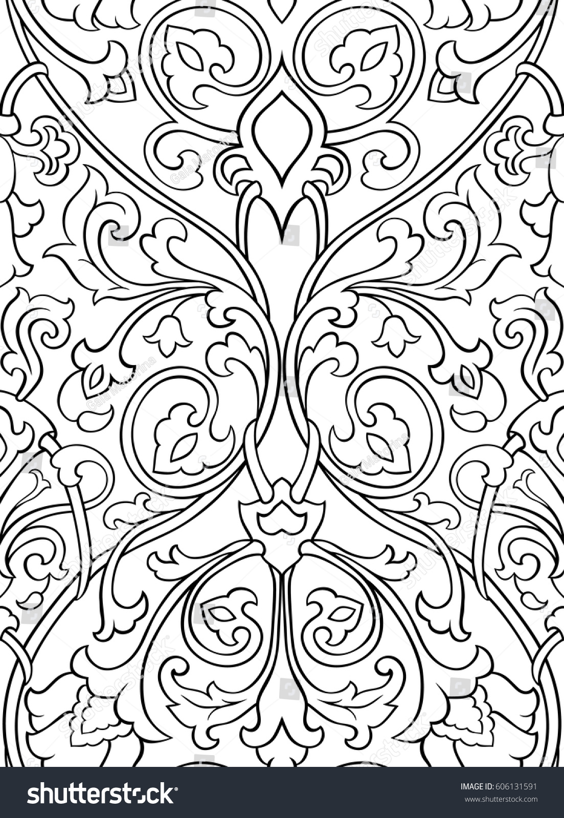 black white floral pattern seamless filigree stock vector royalty