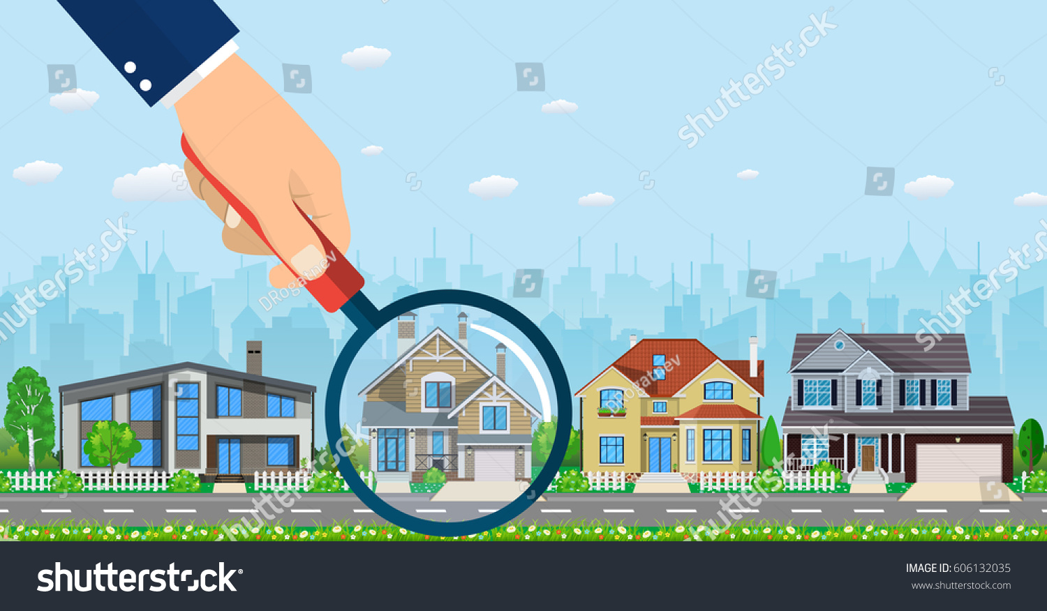 Magnifying Glass House Real Estate Concept Stock Vector
