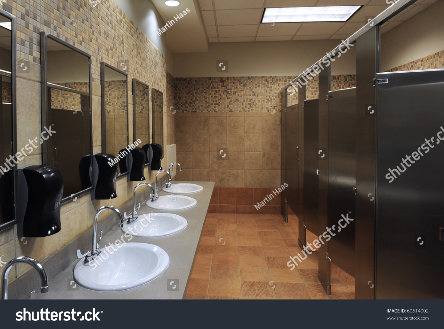 Lavatory Sinks In A Public Restroom Stock Photo 60614002 ...